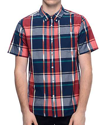 Primitive Ikat Navy & Red Plaid Woven Button Up T-Shirt