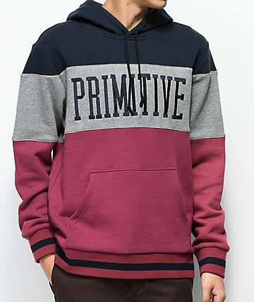 Primitive League Blue, Grey & Red Colorblock Hoodie