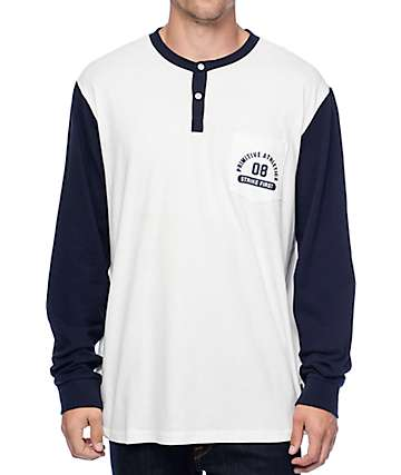Primitive Navy & White Long Sleeve Henley T-Shirt