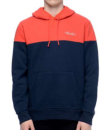Primitive Nuevo Navy & Red Blocked Pullover Hoodie