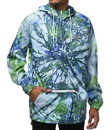 Primitive Nuevo Pennant Green & Purple Tie Dye Packable Anorak Jacket