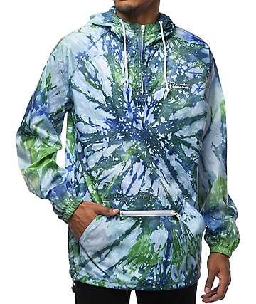 Primitive Nuevo Pennant Green & Purple Tie Dye Packable Anorak Jacket