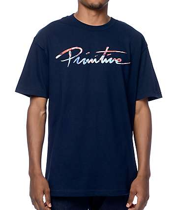 Primitive Nuevo Script Ink camiseta en azul