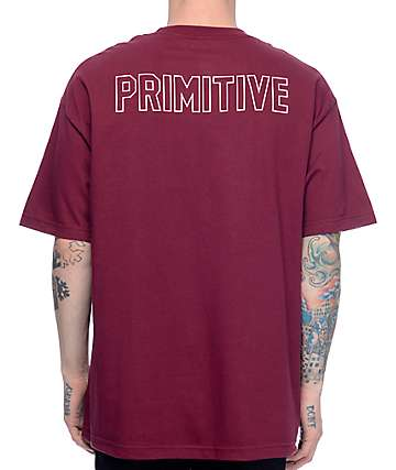 Primitive Pennant Block Burgundy T-Shirt