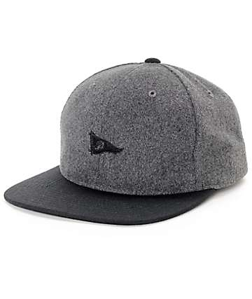 Primitive Pennant Wool Charcoal,  & Black Strapback Hat