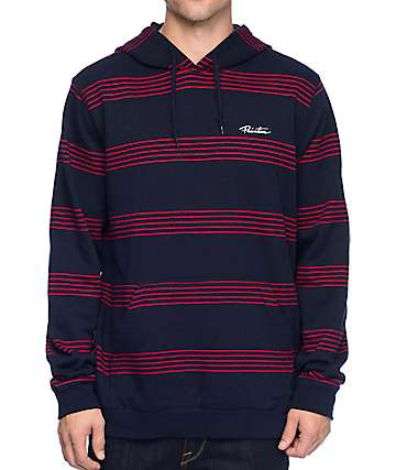 Primitive Pinline Navy & Red Pullover Longsleeve Hooded Shirt