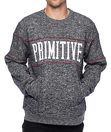 Primitive Piped Heather Grey Crew Neck Sweatshirt