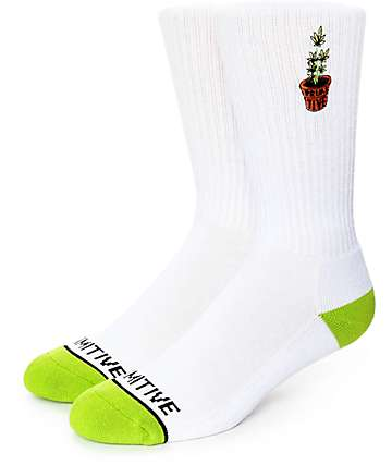 Primitive Planter White & Green Crew Socks