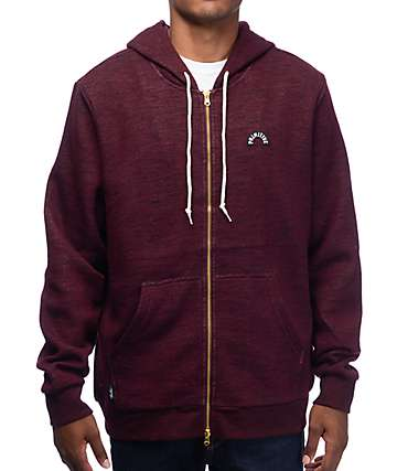 Primitive Premium Burgundy Zip Up Hoodie