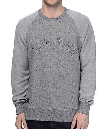 Primitive Reverse Grey Crew Neck Sweatshirt