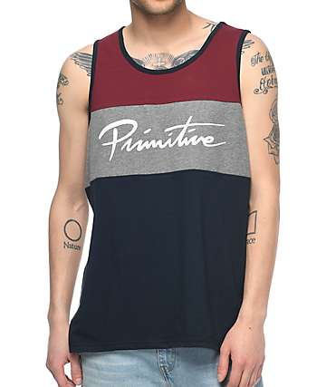 Primitive Sprinter Nuevo Navy, Charcoal & Burgundy Tank Top