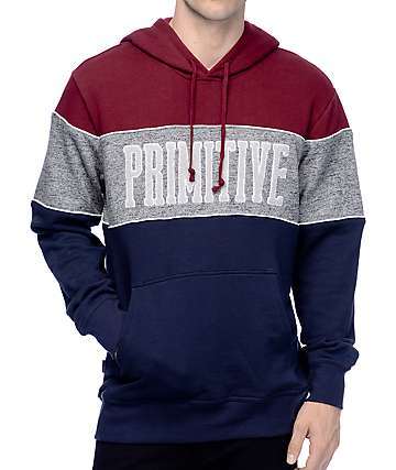 Primitive Sprinter Piped Navy, Heather Grey, & Burgundy Hoodie