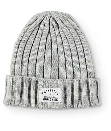 Primitive Standard Issue Ribbed Grey Fold Beanie
