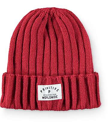 Primitive Standard Issue Ribbed Red Fold Beanie