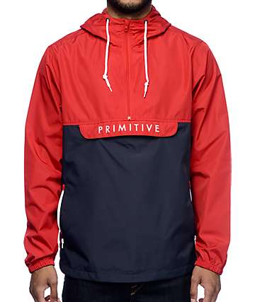 Primitive Staten Red & Navy Anorak Windbreaker Jacket