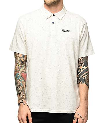 Primitive Texture Heather White Knit Polo Shirt