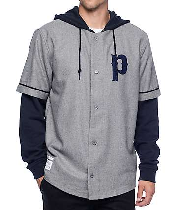 Primitive Two-4-One Heather Grey Baseball Jersey Hoodie