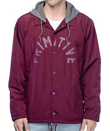 Primitive Two-Fer Burgundy Hooded Coaches Jacket