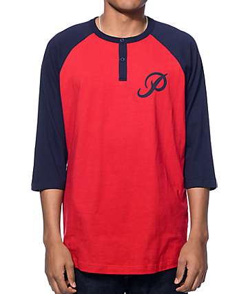 Primitive Victor Red & Navy Henley Baseball T-Shirt