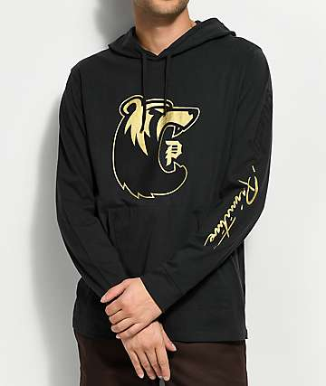 Primitive X Grizzly Gold Mascot Popover Black Hooded Long Sleeve T-Shirt