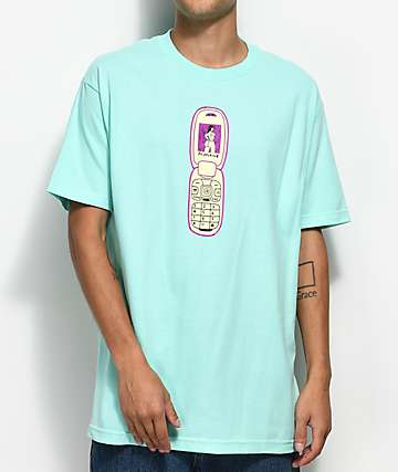 Primitive x Gangster Doodles Flip Phone camiseta turquesa