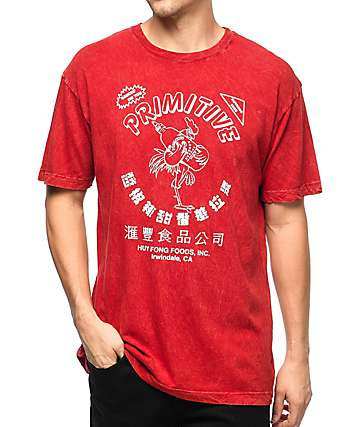 Primitive x Huy Fong Foods Red Acid Wash T-Shirt