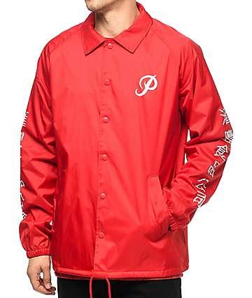 Primitive x Huy Fong Foods chaqueta entrenador en rojo