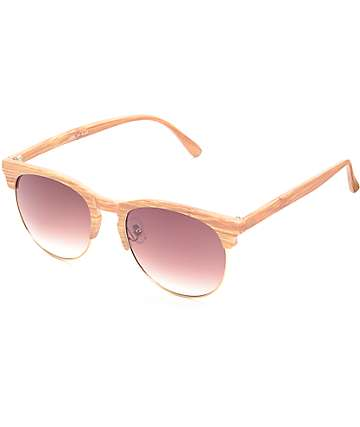 Primrose Light Wood Retro Sunglasses