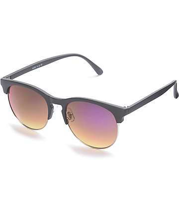 Primrose Matte Black & Purple Retro Sunglasses