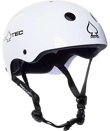 Pro-tec casco de skate clásico blanco