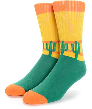 Psockadelic Cooler Cactus Green, Yellow, and Orange Crew Socks