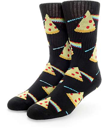 Psockadelic Dark Side Of The Pizza Black and Yellow Crew Socks