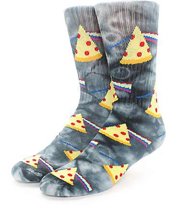 Psockadelic Dark Side Of The Pizza Tie Dye Crew Socks