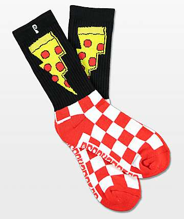Psockadelic Doughnut Black & Red Crew Socks