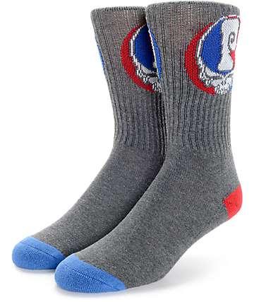 Psockadelic Grateful calcetines crew negro jaspeado y azul