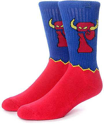 Psockadelic Monster Red & Blue Crew Socks