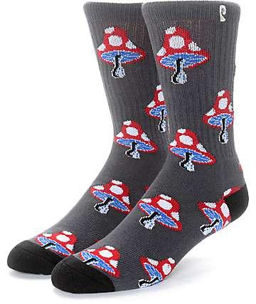 Psockadelic Mushroom 2 Charcoal & Black Crew Socks