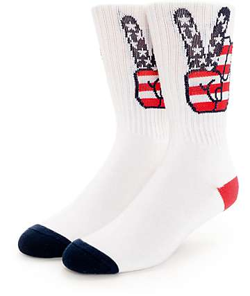 Psockadelic Peace White Crew Socks