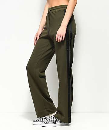 Publish Tammy Olive & Black Wide Leg Track Pants