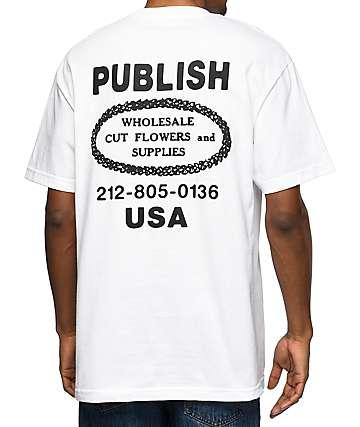 Publish Whole Sale Flowers camiseta blanca