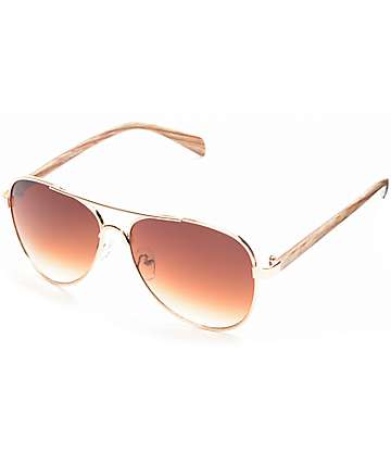 Pulp Fiction Wood Arm Aviator Sunglasses