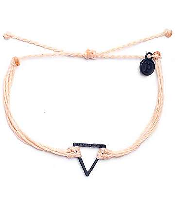 Pura Vida Black Hammered Triangle Cream Bracelet