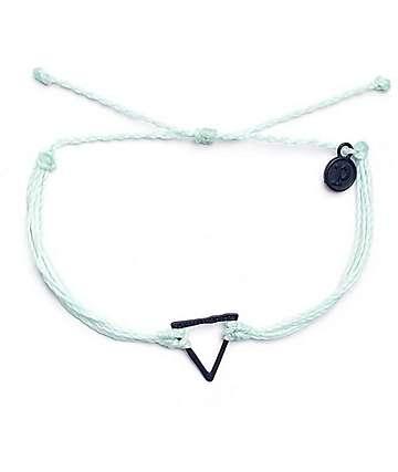 Pura Vida Black Hammered Triangle Seafoam Bracelet