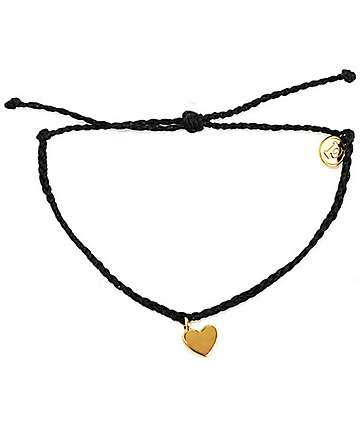 Pura Vida Gold Bitty Heart Black Bracelet