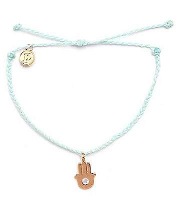Pura Vida Gold Hamsa Bitty Seafoam Green Bracelet