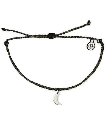 Pura Vida Silver Bitty Moon Black Bracelet