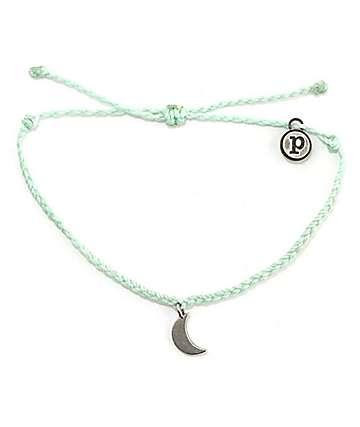 Pura Vida Silver Bitty Moon Seafoam Green Bracelet