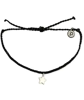Pura Vida Silver Bitty Star Black Bracelet