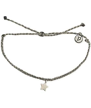 Pura Vida Silver Bitty Star Dark Grey Bracelet