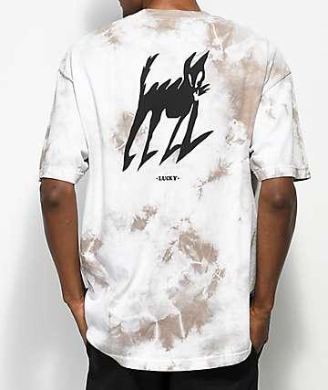 Quiet Life Lucky Lightning camiseta blanca con efecto tie dye en color café